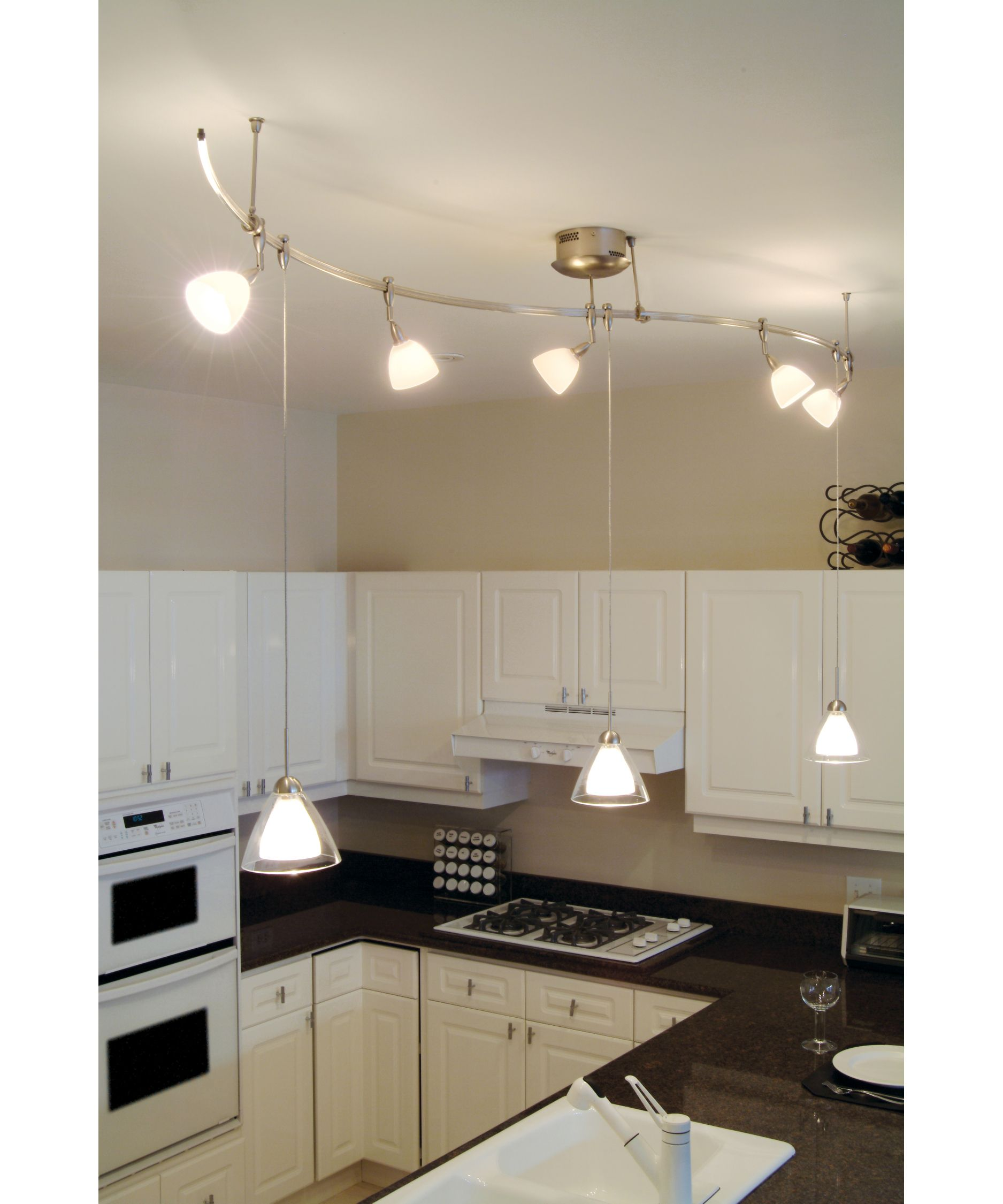 Kitchen Pendant Lighting Over Sink: Kitchen Track Light, Maybe One Hangs Down Over Sink.
