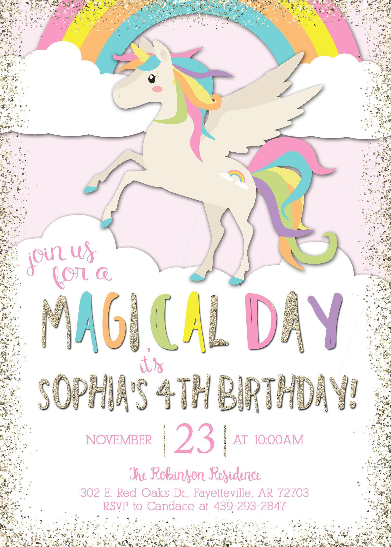 Unicorn Birthday Invitation Magical Unicorn Party Unicorn Invite