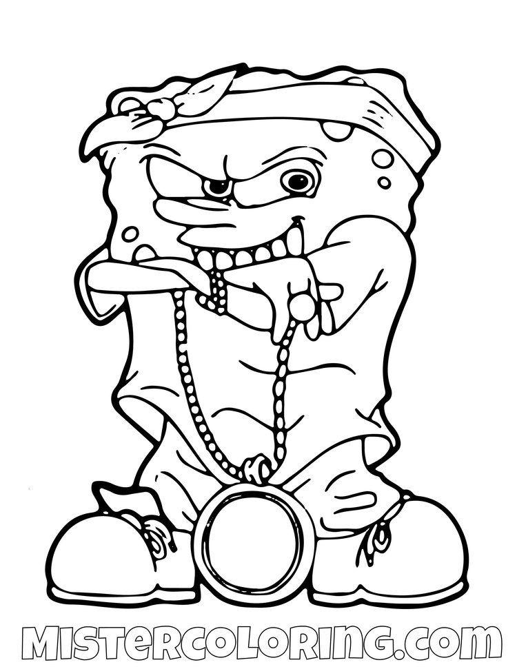 Spongebob Squarepants Coloring Pages For Kids Mister Coloring Spongebob Drawings Graffiti Characters Spongebob Coloring