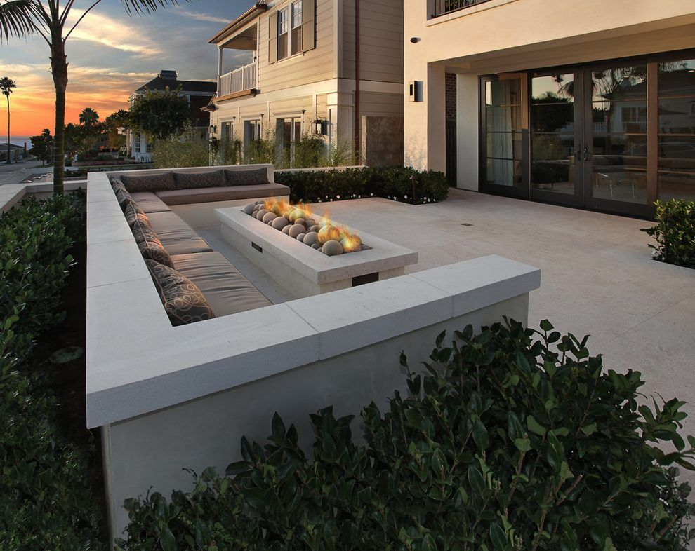 Rectangle Fire Pit Patio Contemporary With French Doors