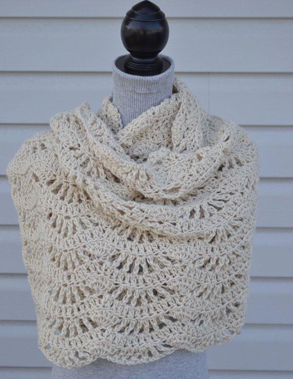 Cream/OffWhite Open Weave Crochet Shawl/Wrap by MamaLlamaCrafts, $52.00