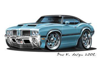 Oldsmobile 1971 Cutlass 442 Car Drawings Car Cartoon Oldsmobile