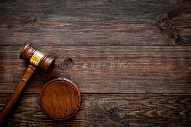 Law Or Jurisprudence Concept Judge Gavel On Dark Wooden Background Top View Cop Sponsored Judge Gavel Wooden Background Simple Business Cards Top View
