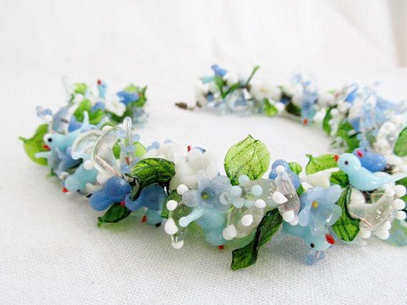 Stunning Italian Bird And Flower Murano Glass Necklace Garland Murano Glass Necklaces Murano Glass Birds Murano