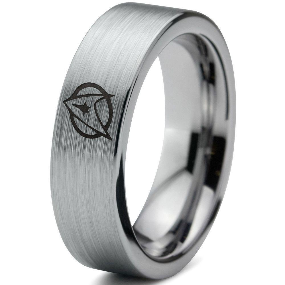 star trek inspired silver tungsten ring - Star Trek Wedding Ring