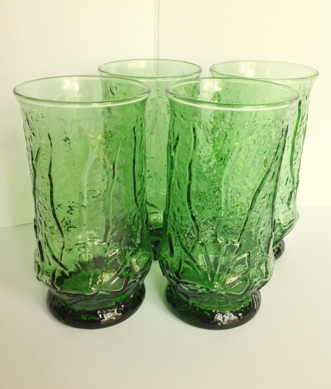 4 Anchor Hocking Rain Flower 16oz Iced Tea Emerald Green Drinking Glasses Vintage Glassware Vintage Glassware Green Drinking Glasses No Rain No Flowers