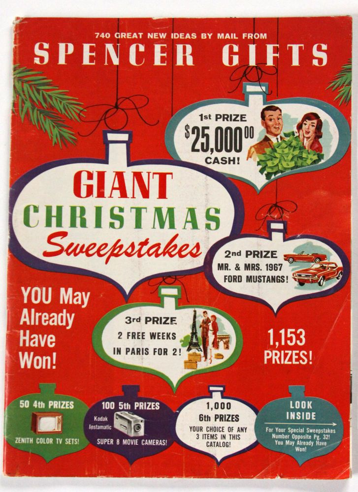 sweepstakes by mail vtg 1966 spencer gifts catalog mail order xmas sweepstakes 6389