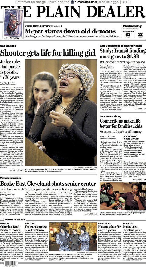 The Plain Dealer's front page for December 31, 2014