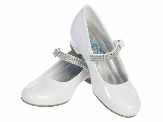 1839ab548399bb White Patent Low Heel Girls Dress Shoe w/ Rhinestone Strap | Shoes ...