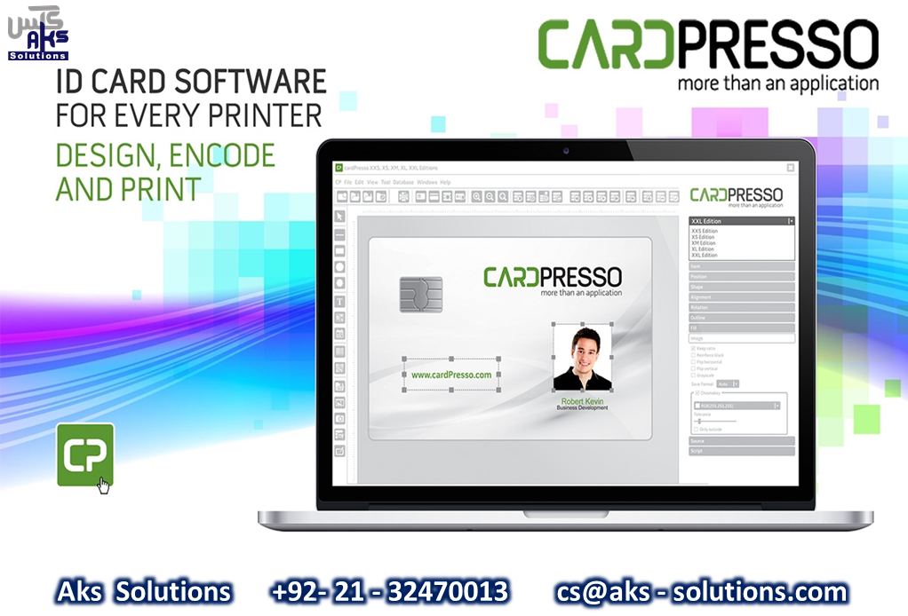 Cardpresso Id Card Software For Every Printer Design Encode Print Aks Solutions 92 21 32470013 Cs Aks Solutions Com Card Printer Employees Card Cards