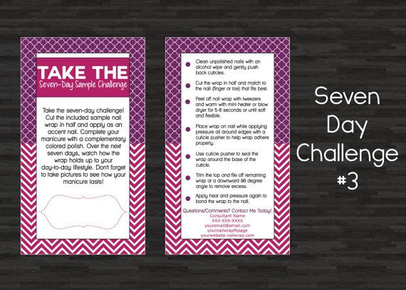 Custom Printable Seven 7 Day Sample Challenge 3 Business Cards For Nail Wrap Direct Sales Consultants Nail Wraps Jamberry Nail Wraps Day