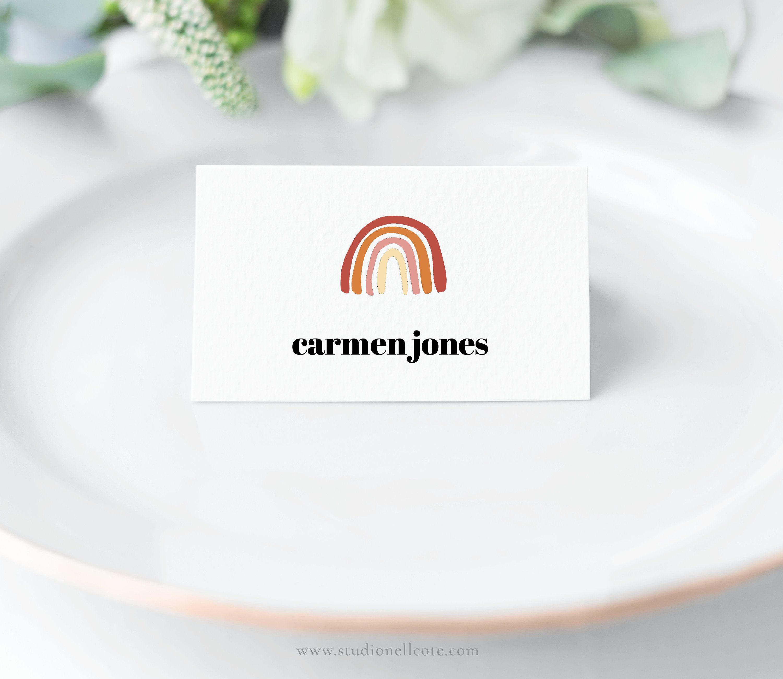 Modern Thanksgiving Rainbow Place Card Editable Place Card Etsy Modern Thanksgiving Place Card Template Matchbox Wedding Favors