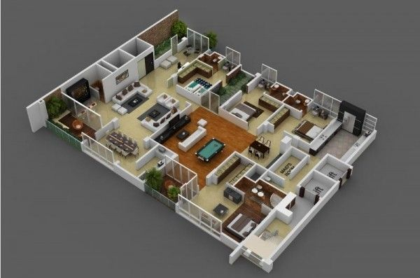 4 Bedroom Apartment House Plans Planos House Plans 4 Bedroom