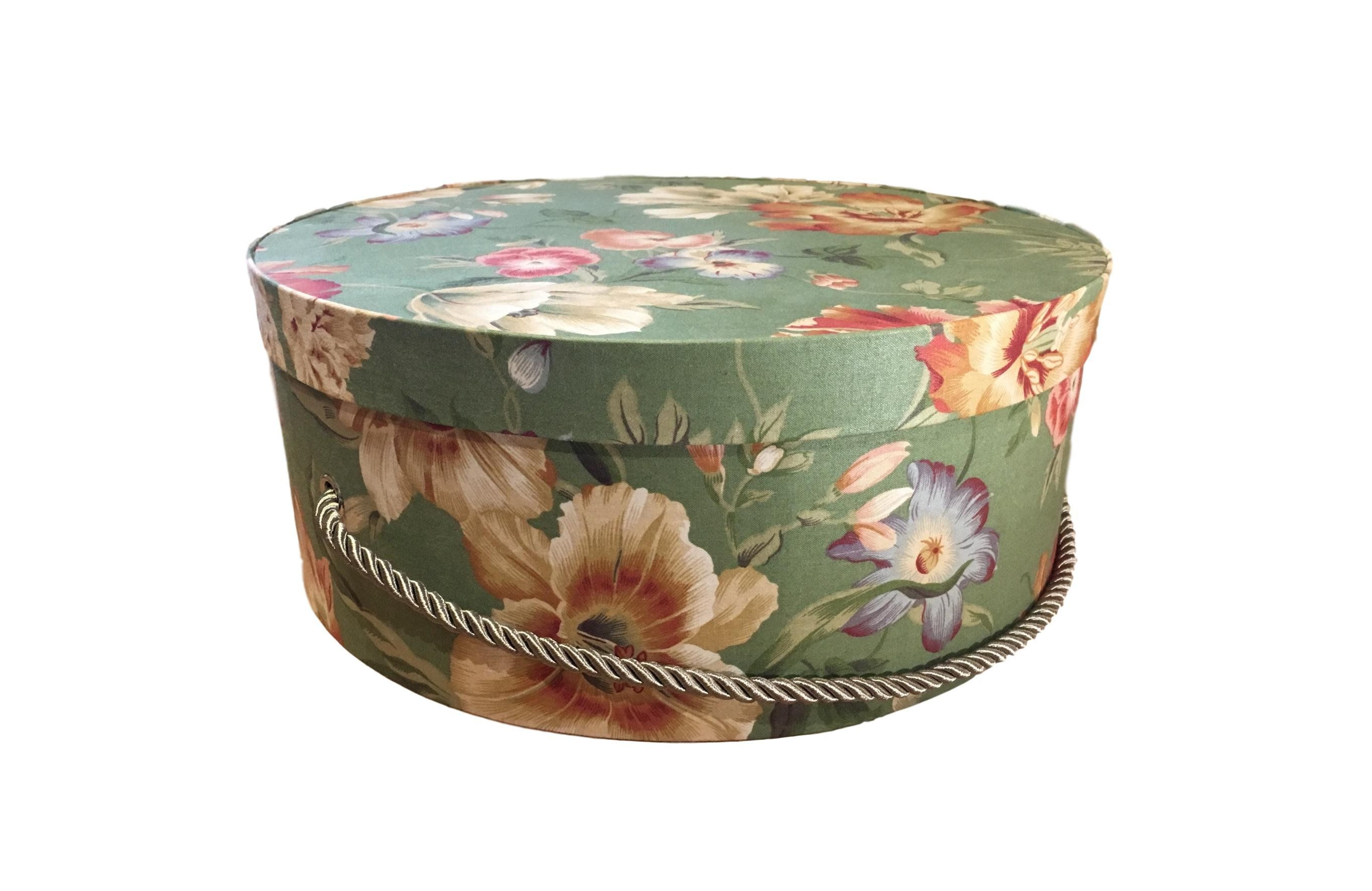 Large Hat Box In Green Floral Large Decorative Fabric Covered Hat Boxes Round Storage Box Keepsake Boxes With Lid Vintage Hat Boxes Fabric Decor Large Hats