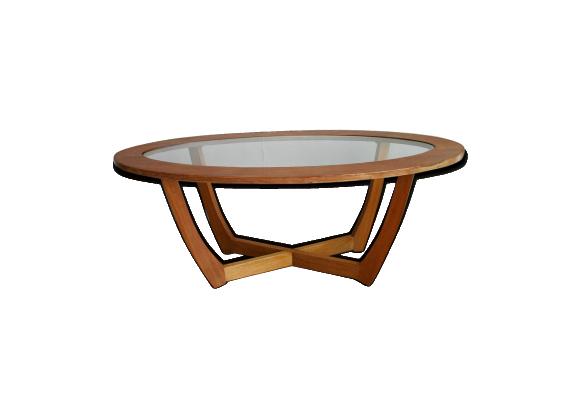 Ovale Basse En Et 1960 Verre Table Bois uJ3clKTF1