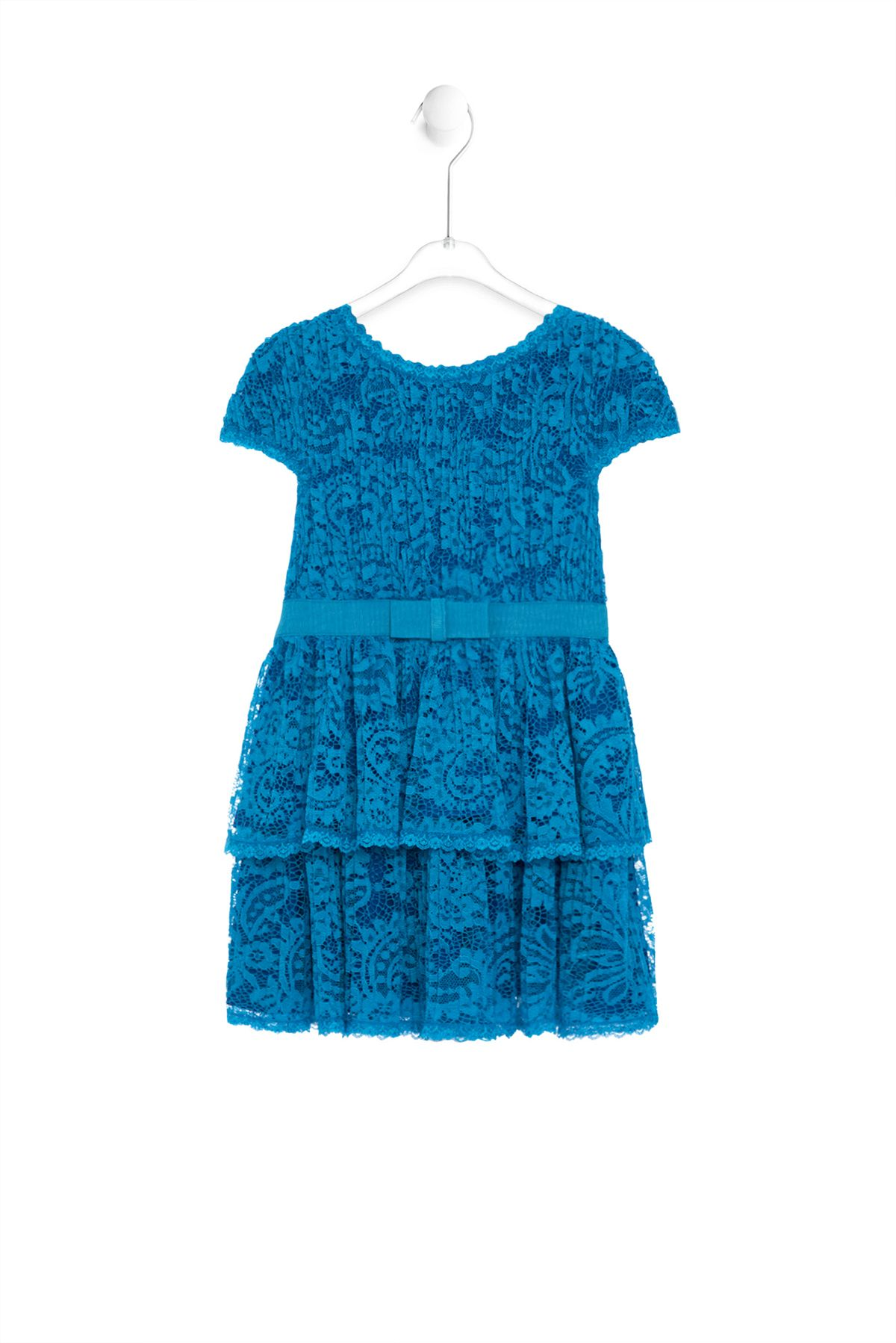 Tadashi Shoji Kids l Beaming with brightness, this darling dress features delicate pleated lace, cap sleeves, and scallop lace trims. The tiered ruffle skirt is cinched with a sweet grosgrain ribbon belt. Dress is fully lined in our signature jersey to ensure comfort.