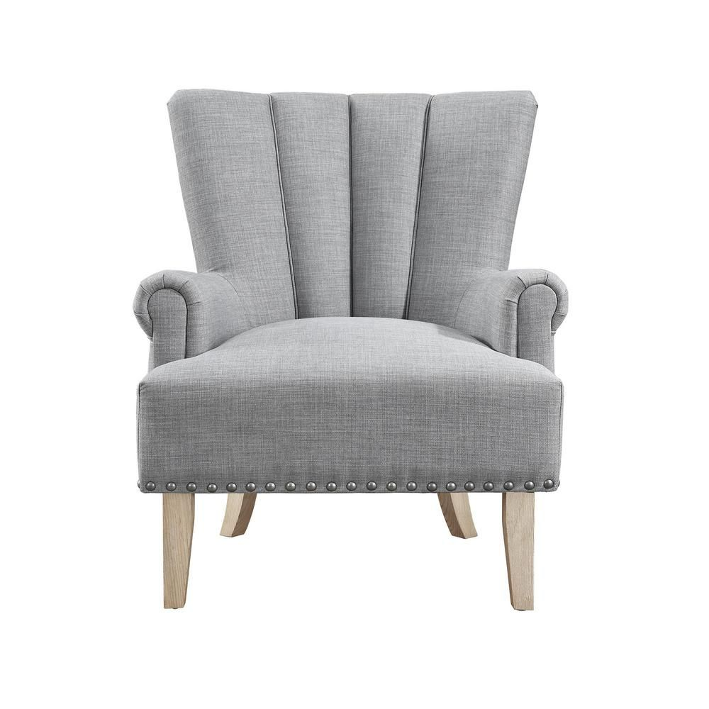 Dorel Living Belvedere Gray Accent Chair Fh7201 Gr Grey Accent