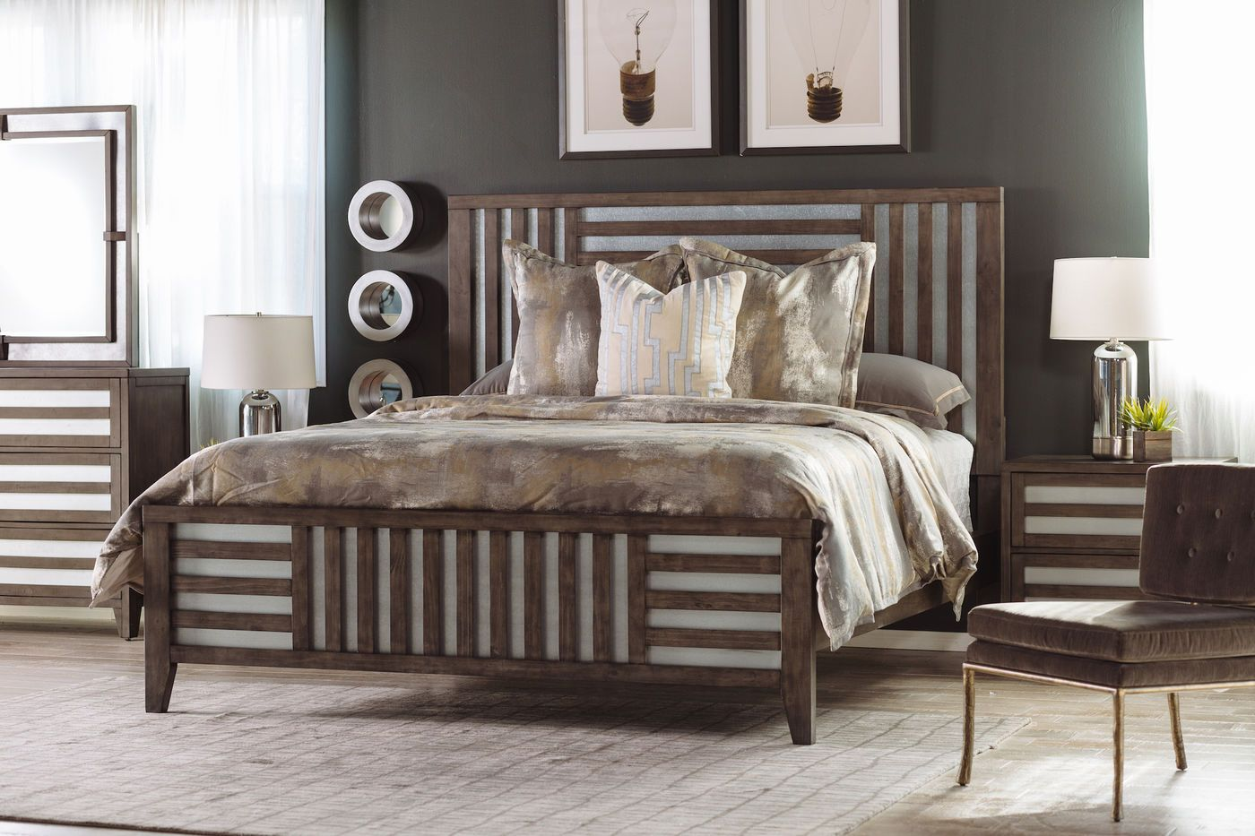 """62"""" Modern LatticeFramed Bed in Driftwood in 2019 Bed"""