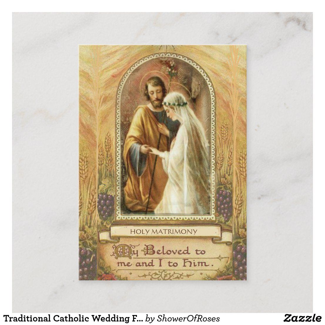 Traditional Catholic Wedding Favor Holy Card