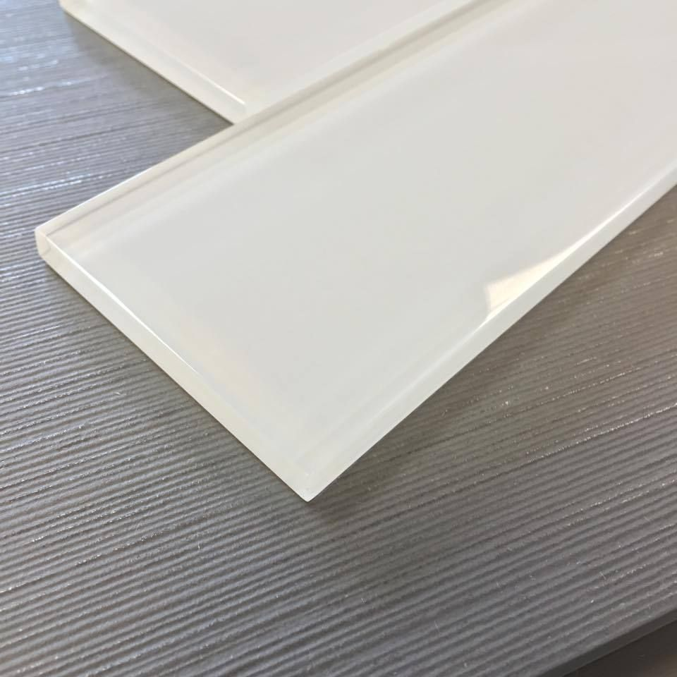 Ice White Glass Subway Tile 3 X 12 Glass Backsplash Kitchen Glass Tile Backsplash Kitchen White Glass Tile