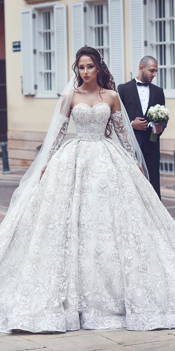 ball gown wedding dresses with detached sleeves sweetheart lace ahmad younes pho…