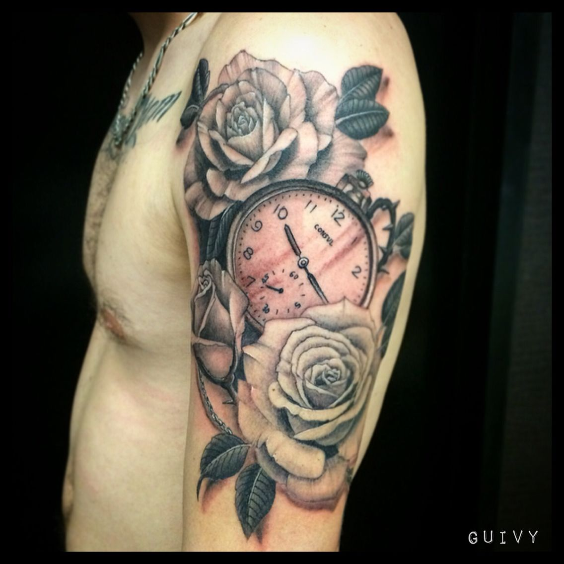 Tattoo by guivy geneve switzerland pocket watch roses montre a gousset realistic - Montre a gousset tattoo ...