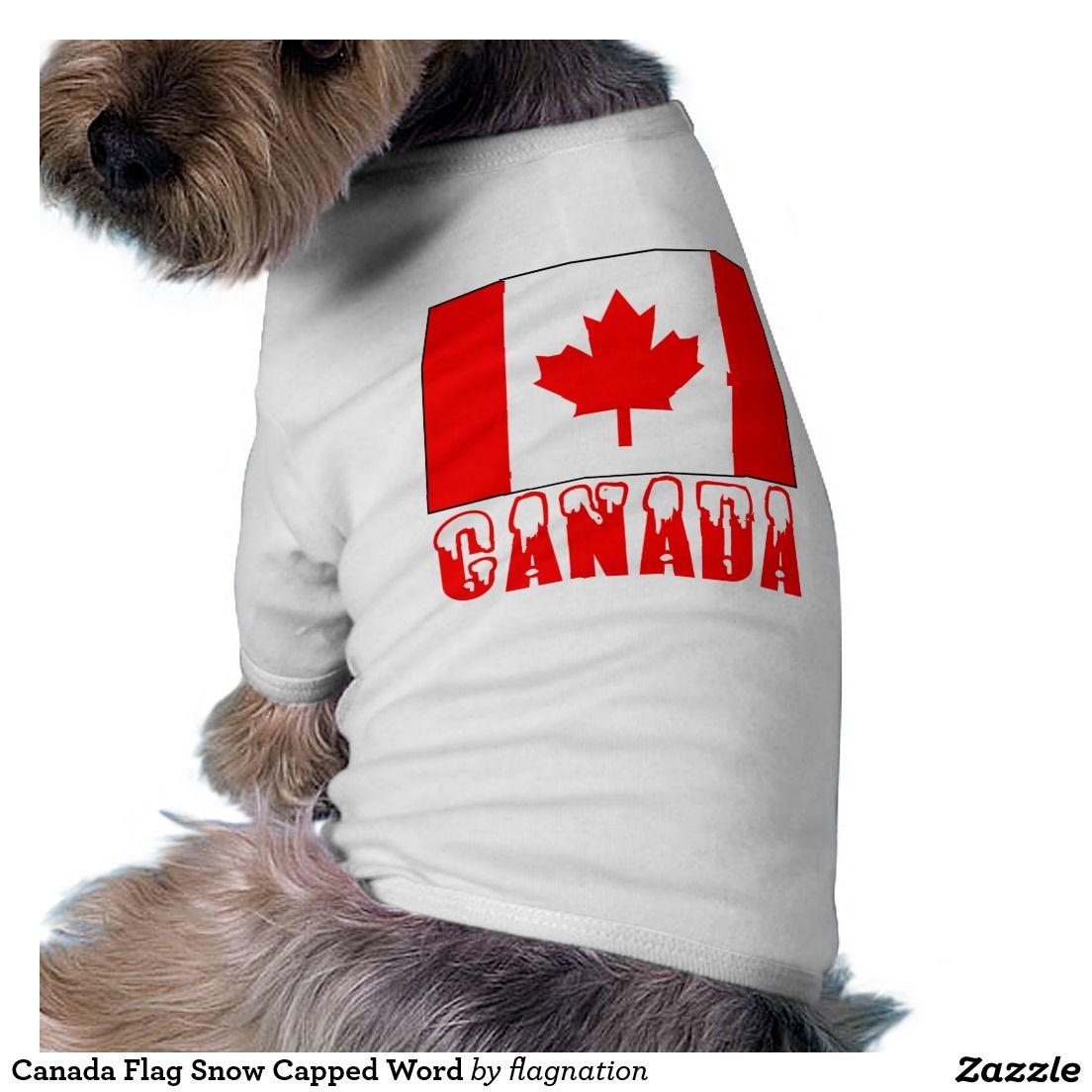 Canada flag snow capped word shirt pet