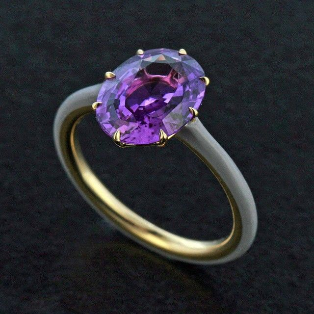 taffinjewelry Purple sapphire and grey ceramic.