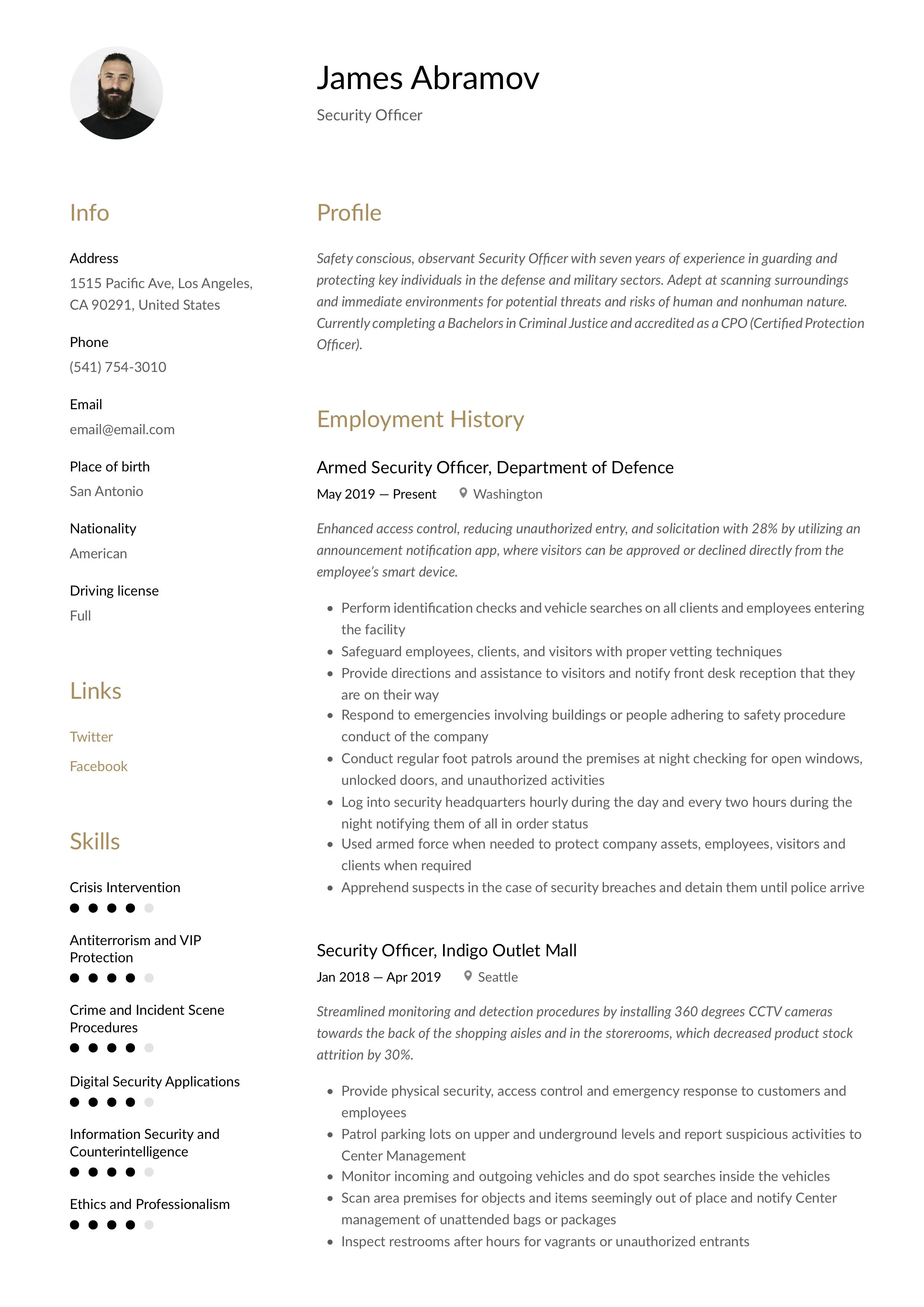 Security Officer Resume & Writing Guide in 2020 Security