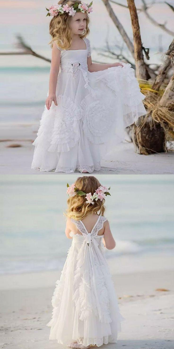 rustic flower girl dresses white