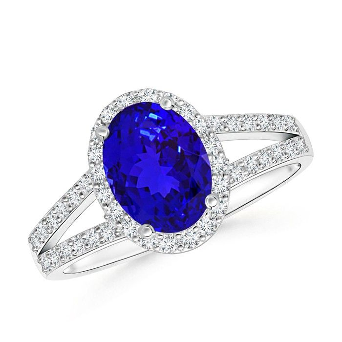 Angara Vintage Inspired Oval Tanzanite Halo Ring in 14K White Gold q4zc93mE5