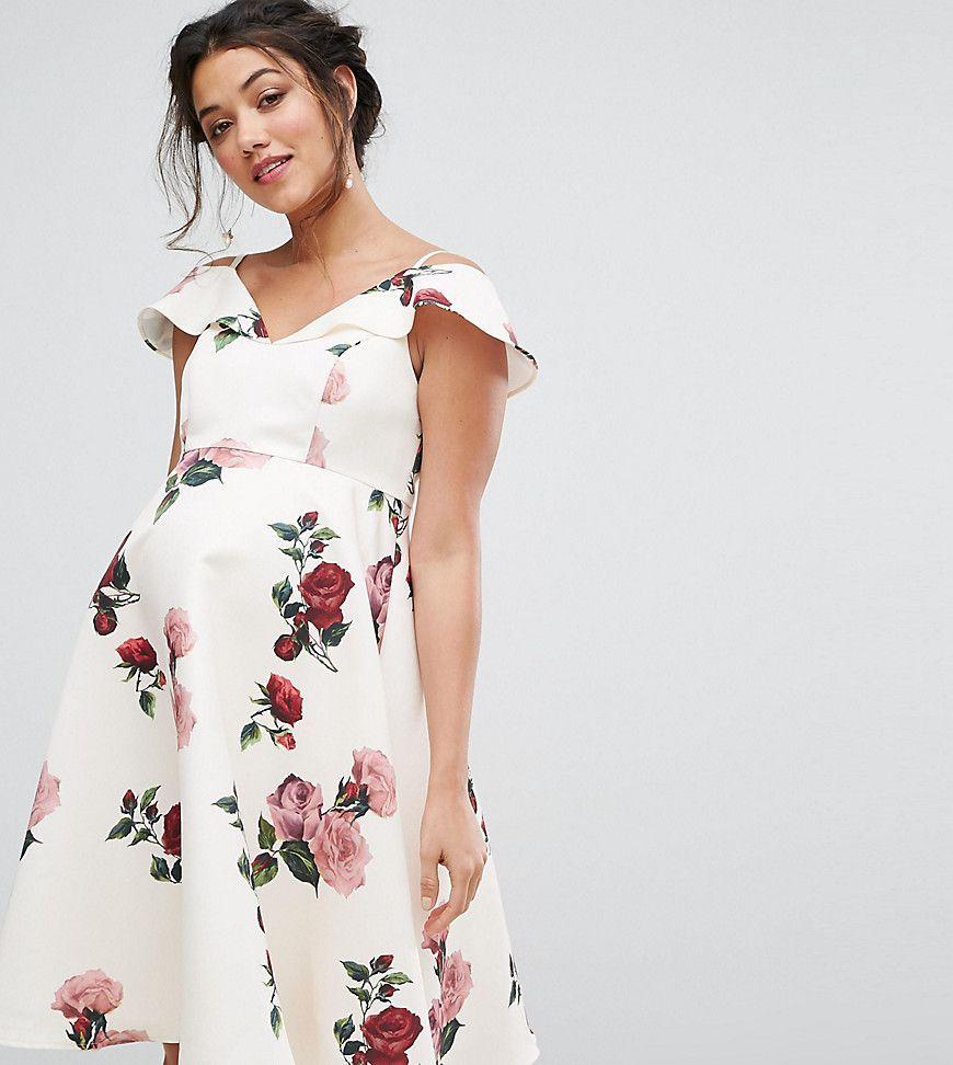 79f3e47e Chi Chi London Maternity Floral Dress With Cold Shoulder - Multi ...