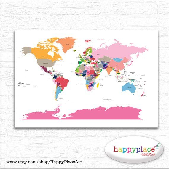 World Map With Country Labels.Brightly Coloured Nursery World Map Printable File In Large 20x30in