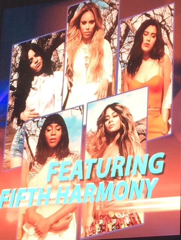 Fifth harmony in vegas for SFP on may15 2016 at cosmopolitan hotel pool!!!  On the sign of the pool