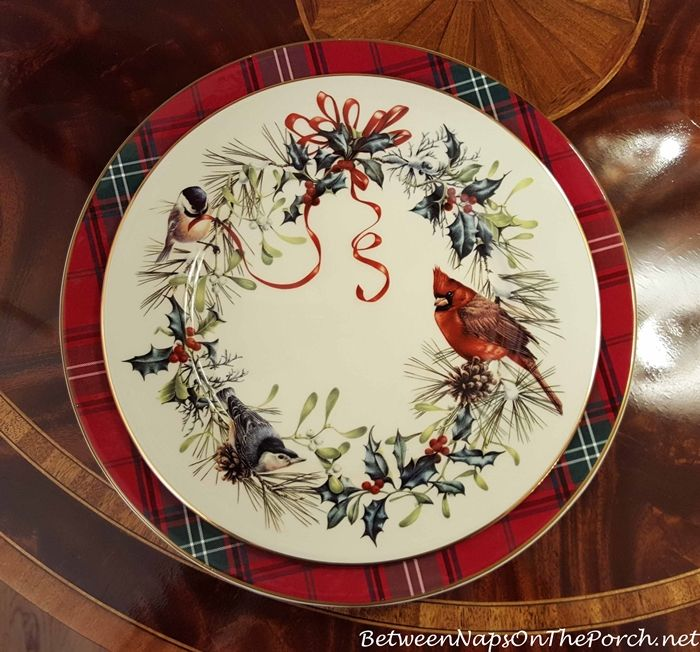 Williams Sonoma Tartan Plaid Charger Lenox Winter Greetings Dinner Plate