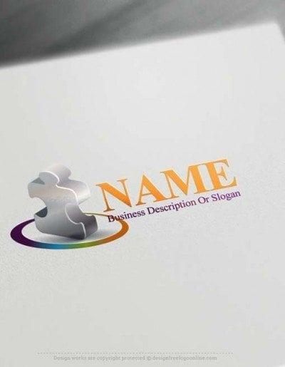 Free Logomaker Online 3D Puzzle Logo template Puzzle