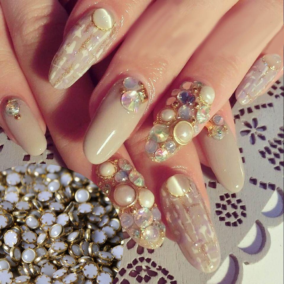 500pcs 4mm Flat Back White Nail Art Pearls Gold Metal Edging Pearls