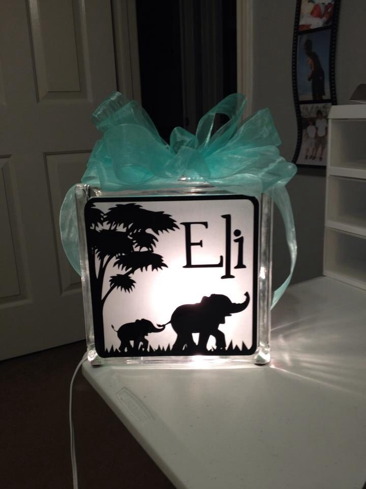 Elephant Glass Block Lamp Lighted Glass Blocks Painted Glass