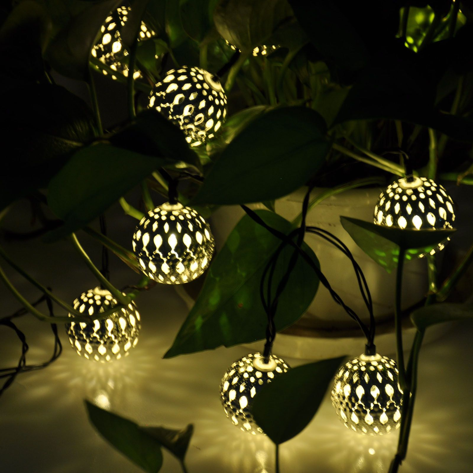 Solar Line Lights Part - 16: Set Of 10 Moroccan Solar String Lanterns LED Fairy Lights Garden Balls