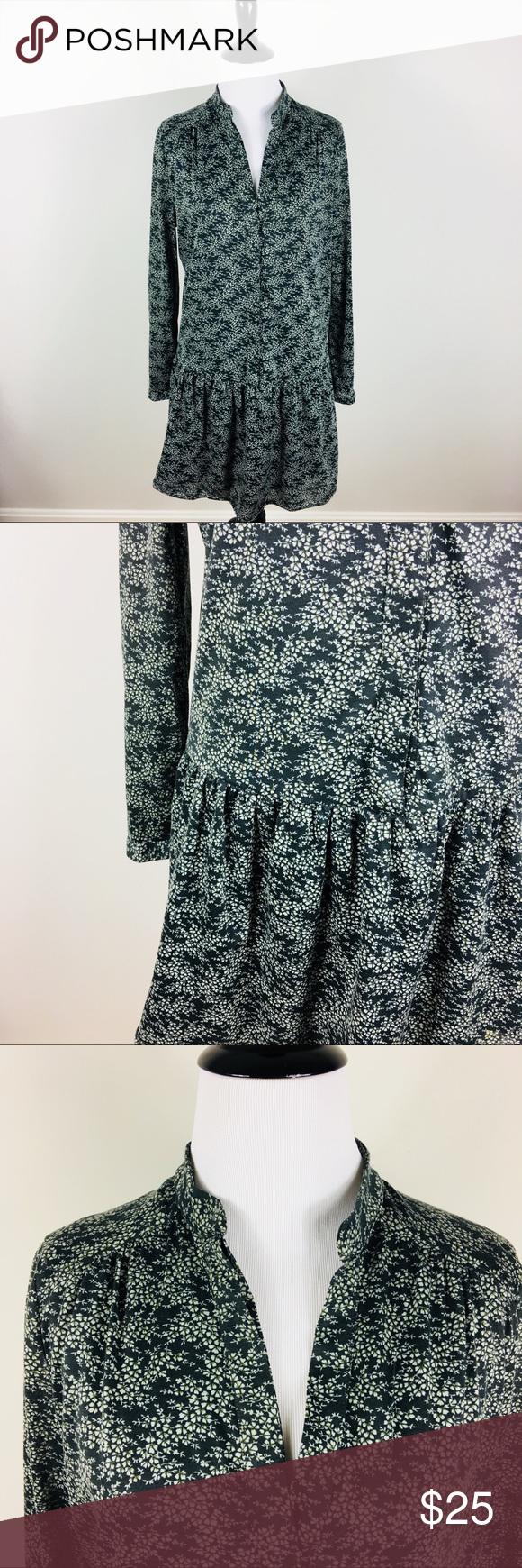 Mng printed shirt dress micro floral long sleeve drawstring