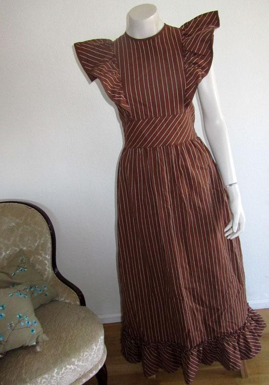 VINTAGE brun randig förklädesklänning klänning förkläde retro ... 6b7d868555c04
