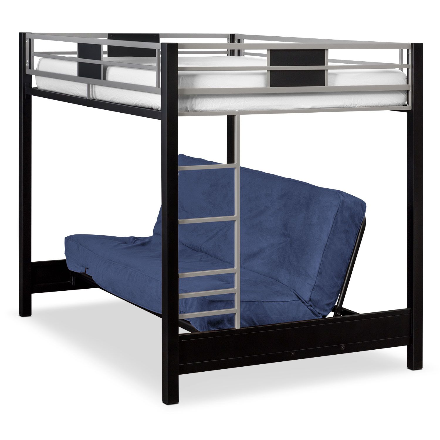 loft bed with desk and futon chair kids peacock bedroom furniture samba full bunk blue