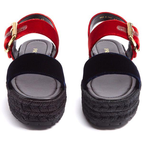 c0b235bdc41 Prada Bi-colour double-strap velvet flatform sandals (77750 ALL) ❤ liked on  Polyvore featuring shoes