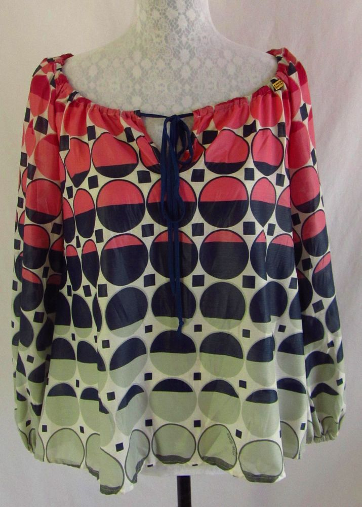 MISS SIXTY COLLECTION S Blue Pink Geometric Print Silky Semi Sheer Shirt Top  #MISSSIXTY #Blouse #Casual