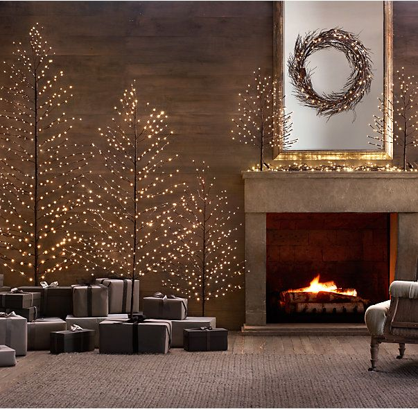 RH's Snow Starlit Trees:Bring extra shimmer to the season with holiday trees dotted with starry warm-white lights. The strong yet flexible branches can also be posed to provide artful placement to ornaments and decorations. Each tree features both an on/off switch and built-in 24-hour timer.