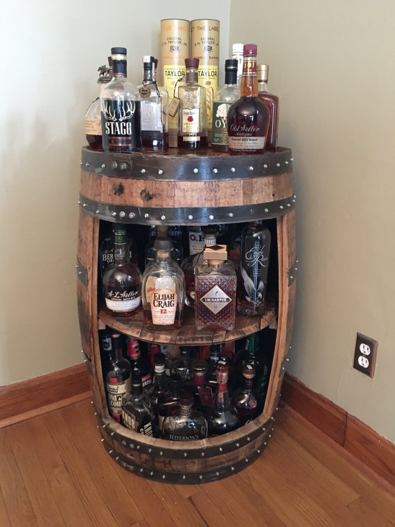 Bourbon Barrel Liquor Bar Display Case Buffalo Trace Woodford Jim Beam Authentic Barrels And Authentic Stamps From Distillery Barrel Bar Whiskey Barrel Bourbon Barrel Bar
