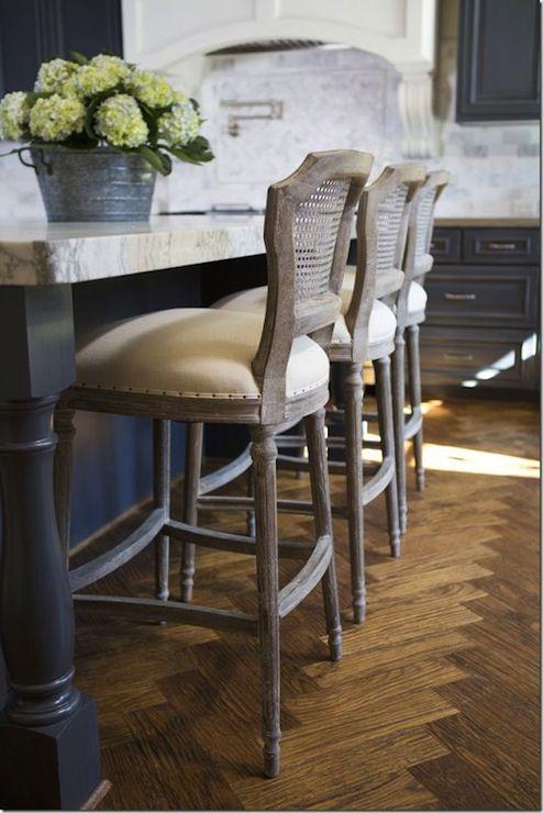 Island Upholstered Stools Dark Blue Kitchen The Interior