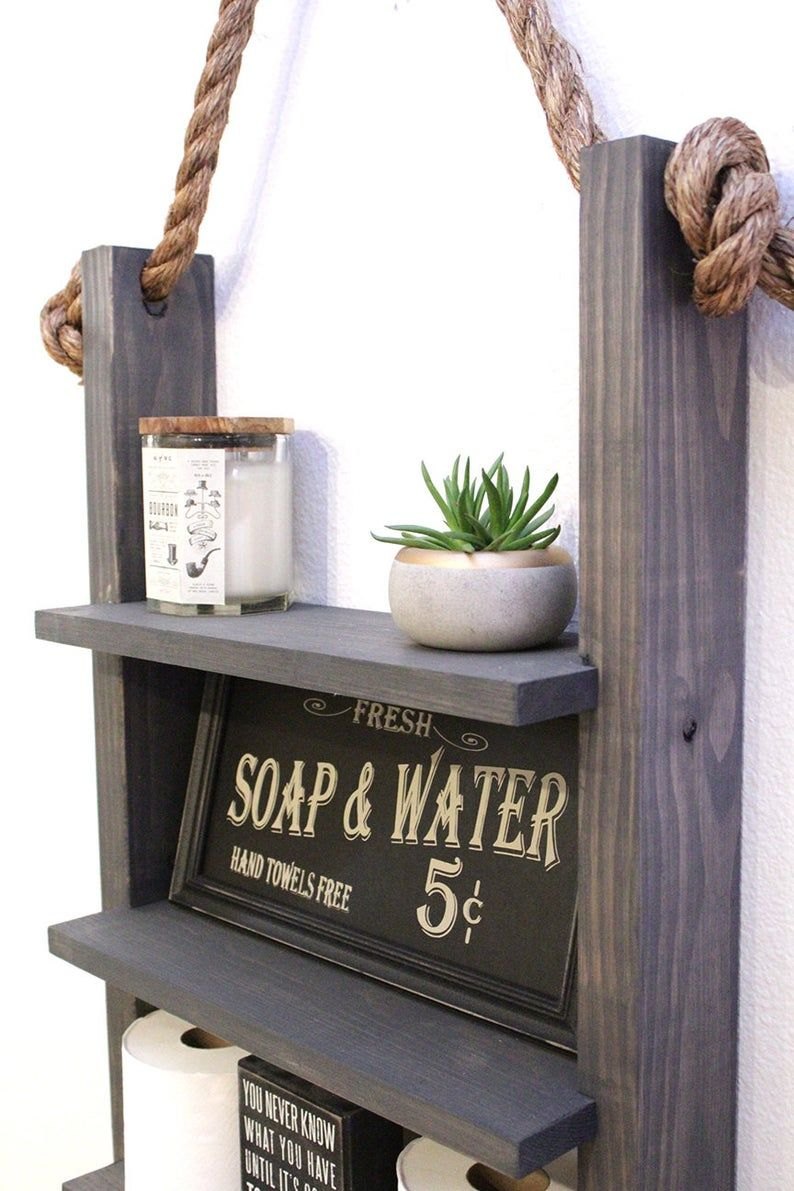 Farmhouse Bathroom Hanging Rope Ladder Shelf Modern Etsy In 2020 Over Toilet Storage Modern Shelving Hanging Rope