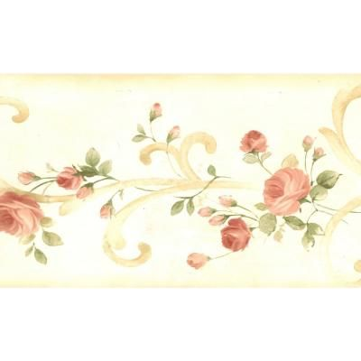 Dundee Deco Falkirk Brin Blooming Roses On Damask Scroll Yellow Green Red Wallpaper Border Bd6266 The Home Depot In 2021 Floral Wallpaper Border Wallpaper Border Pink Wallpaper Border