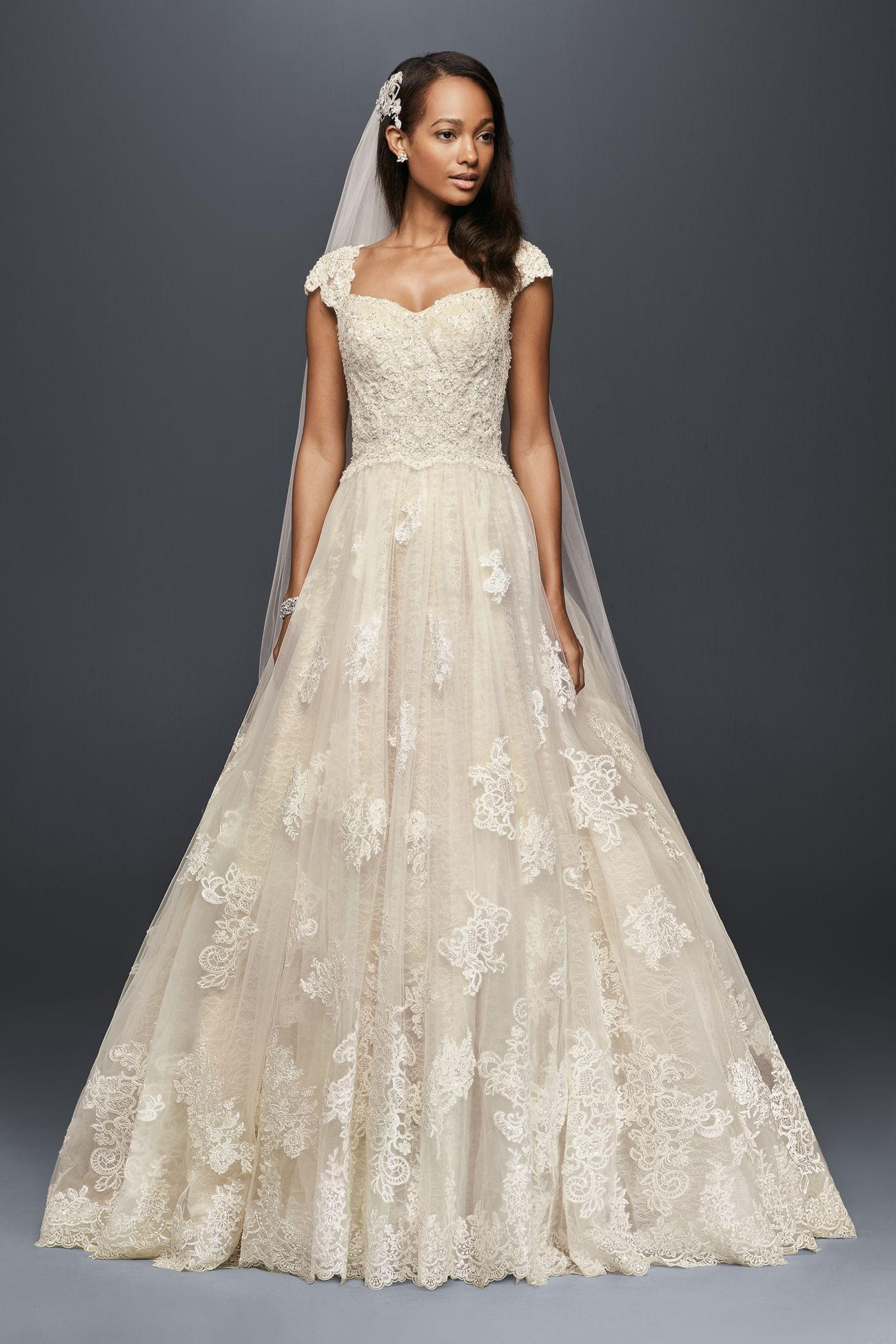 Cap Sleeve Lace Wedding Ball Gown With Beading David S Bridal Davids Bridal Wedding Dresses Wedding Dress Cap Sleeves Ball Gown Wedding Dress